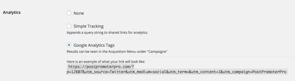 Post Promoter Pro Analytics Settings