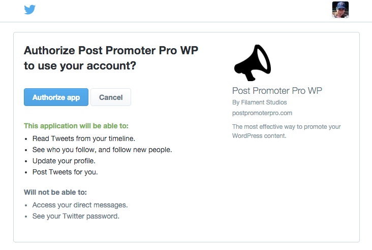 They will be asked to approve the Post Promoter Pro app.